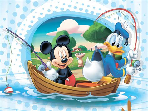 mickey mouse  donald duck fishing  boat disney image  wallpaperscom