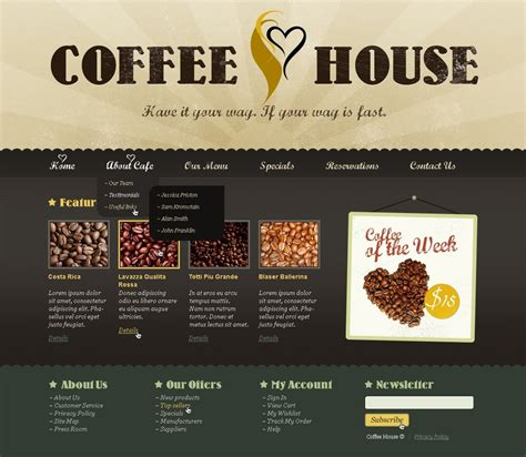 Coffee Shop Website Template 37865 Free Coffee Website Templates