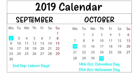 september october  printable calendar templates