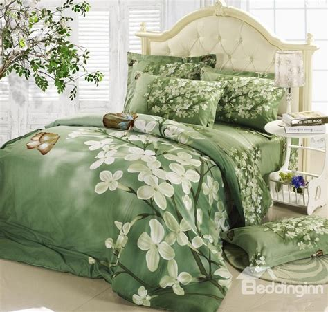 Green Comforter Sets by Best Selling Green With White Flowers 4 Bedding Sets