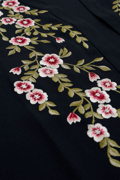 Black Flower Embroidery Depw030 black kimono with floral embroidery plus size 16 to 32