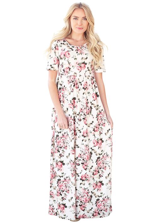 Modest Maxi Dresses by Miranda Modest Maxi Dress In White W Pink