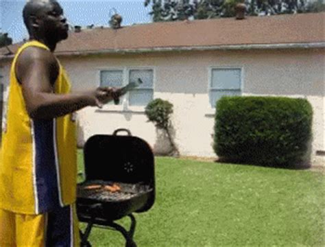 Backyard Bbq Gif Shaquille O Neal Trying To Jump Grill Gif Bbq