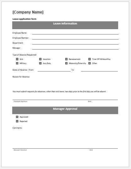 Leave Application Form Template by Leave Application Form Template Ms Word Word Excel