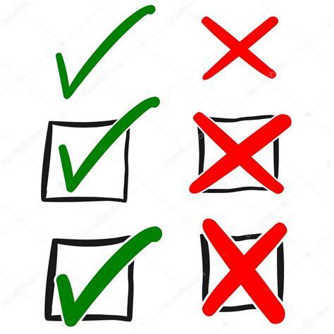 imagenes simbolos visto bueno aprobaci 243 n de verde y rojo rechazo dibujado a mano signo