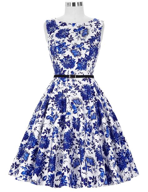 blue porcelain vintage dress 1950sglam