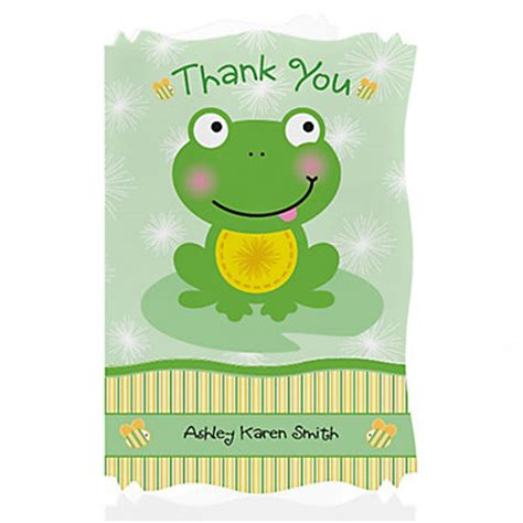 Frog Baby Shower by Froggy Frog Personalized Baby Shower Thank You Cards