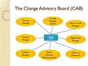 who chairs the change advisory board change management itil series