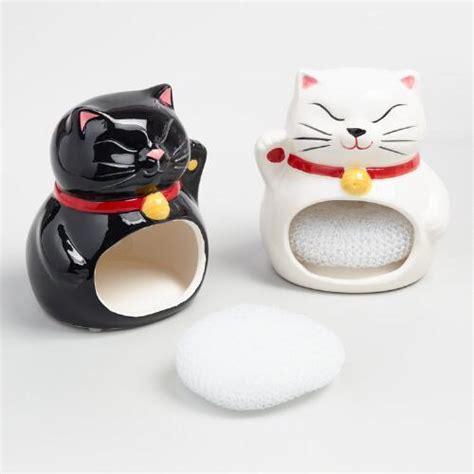 Set Of 2 Sponge lucky cat ceramic sponge holders set of 2 world market