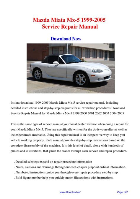 1999 mazda mx 5 miata service repair manual download best manuals 1999 2005 mazda miata mx 5 factory repair manual by gipusi samu issuu