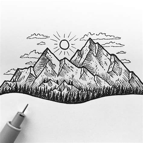 draw tattoo with pen mountain drawing ink www pixshark com images galleries
