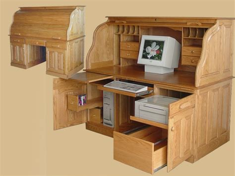 roll top computer desk wood useful roll top computer
