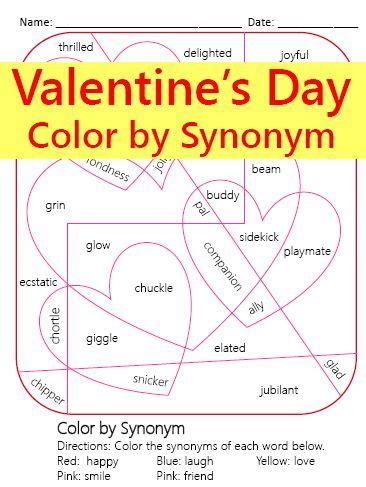 theme day synonym 4767 best valentine s day language arts ideas images on