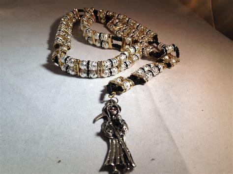 santa muerte rosary santa muerte rosario sinaloense doble plata oro rosary
