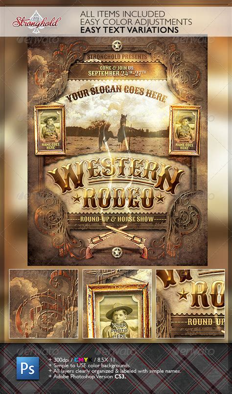 wild west rodeo event flyer template graphicriver