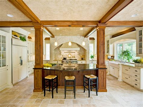 Open Kitchen With Columns by Kitchen Island Chairs Hgtv