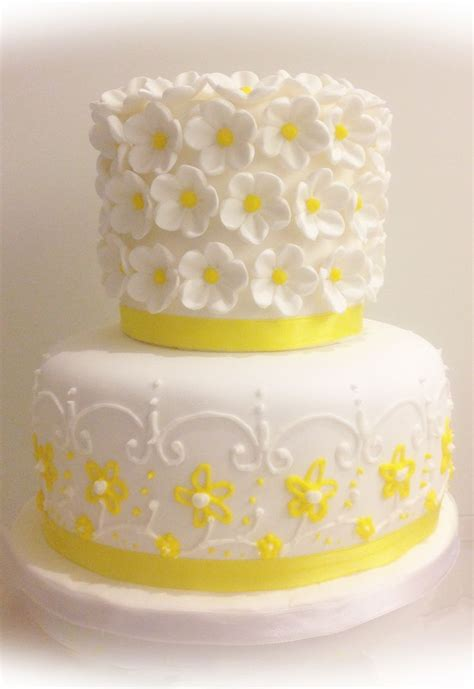 yellow flowers wedding cake cake