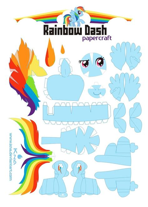 Papercraft My Pony - my pony on rainbow dash pinkie pie and