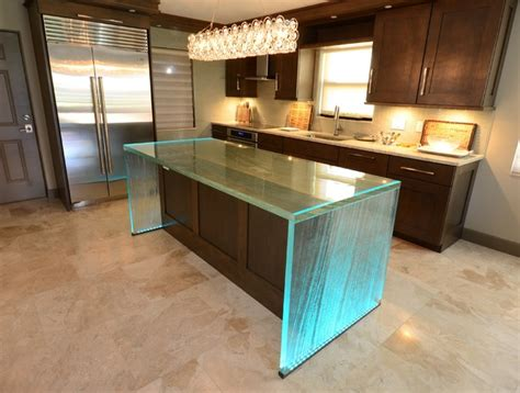 glass kitchen island glass island contemporary kitchen ta by downing