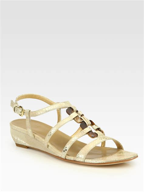 snakeskin wedge sandals stuart weitzman snakekeywest metallic snakeskin wedge