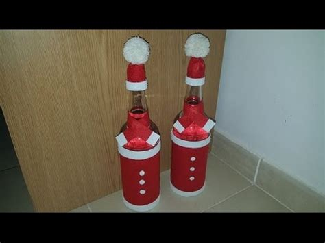 imagenes de santa claus en botella como decorar una botella con santa claus youtube