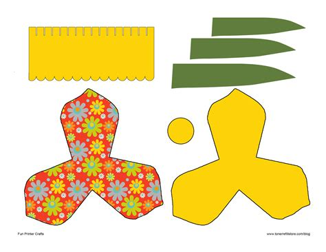 3d paper crafts templates 6 best images of daffodil template printable pattern