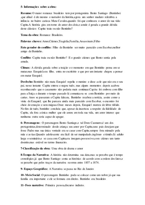 """Ficha de leitura sobre o livro """"Dom Casmurro"""""""
