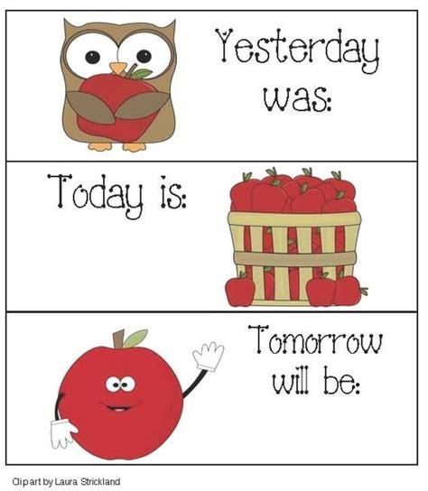 Tomorrow Calendar Apple Activities Apple Themed Calendar Cards Yesterday