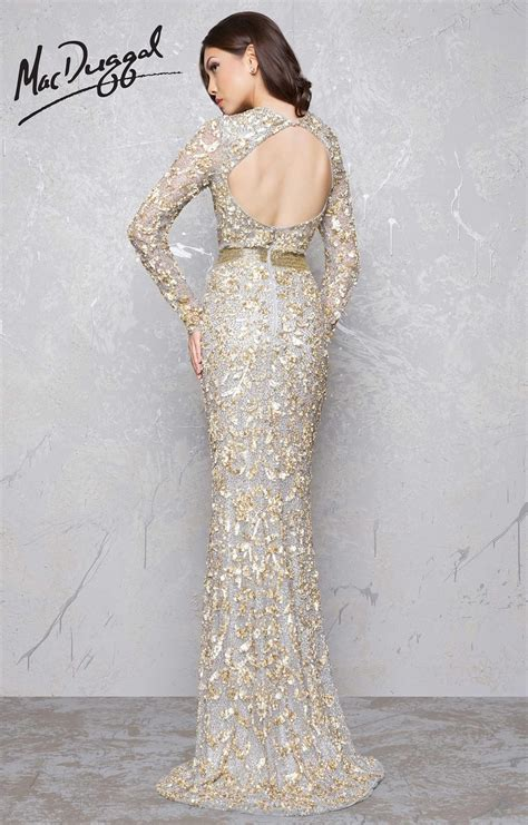 mac duggal  sexy fitted long sleeve lace  sequin
