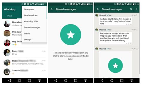 android messaging whatsapp for android updated with starred messages to allow users to quickly access bookmarked