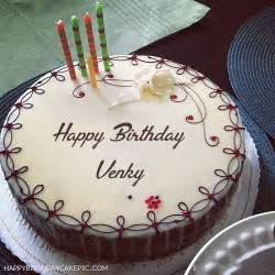 candles decorated happy birthday cake for venky