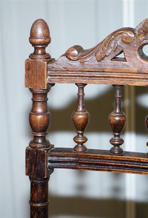 set   original victorian carved oak dining chairs