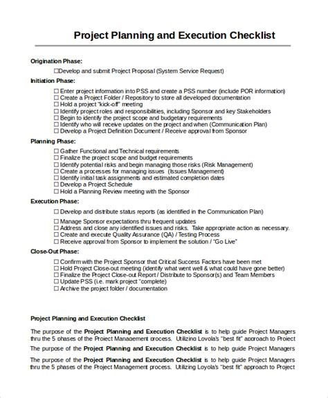 project execution plan template sle project checklist 7 documents in word pdf