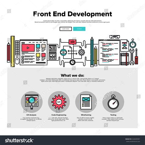 web layout testing tools one page web design template thin stock vector 324049391