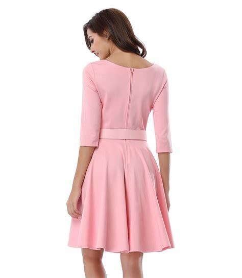 casual swing dress scoop neck solid casual swing knee length dress n14016