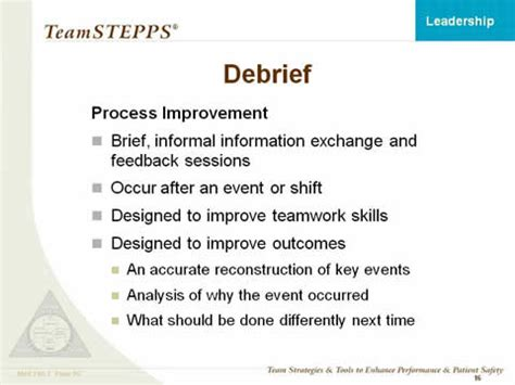 debrief template psychology leadership instructor materials agency for healthcare