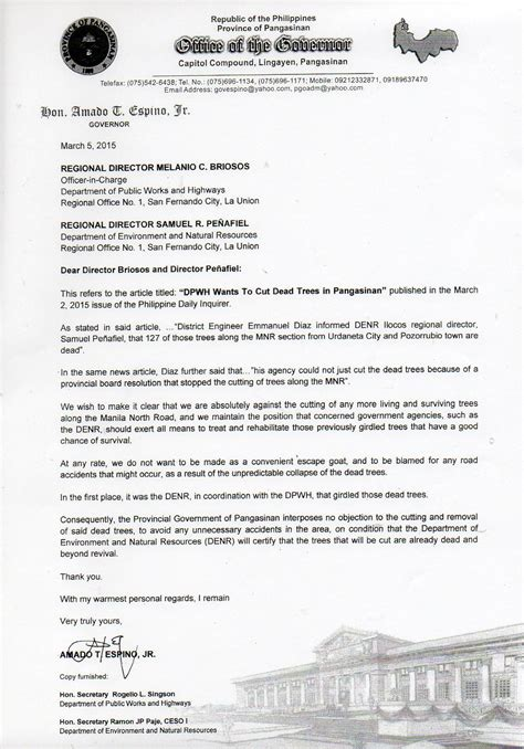Request Letter Cutting Of Trees Prov L Gov T Stands Firm On Fight Vs Tree Cutting But Cites No Objection To Cutting Of Dead