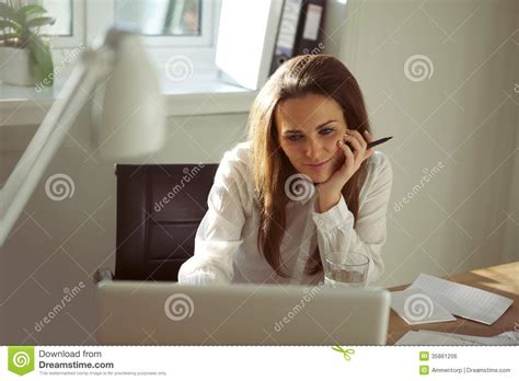 beautiful working from home using laptop