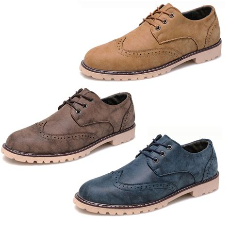 s dress formal casual brogues oxfords shoes lace up wingtip leather wedding ebay