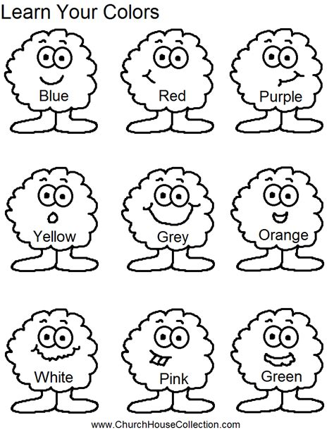 Coloring Work Sheets by Learn Your Colors Preschool Worksheet