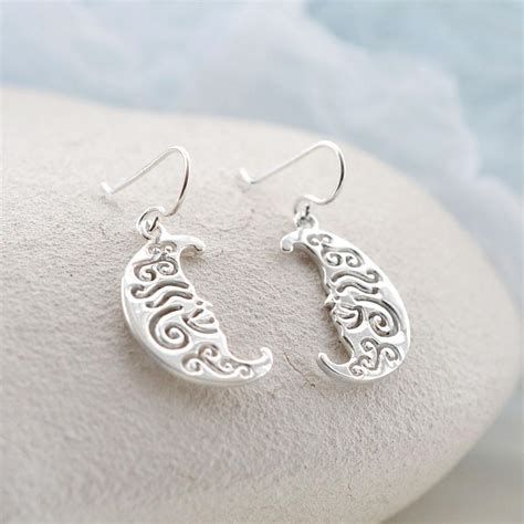 Non Matching Moon Earring sterling silver henna moon earrings martha jackson jewellery