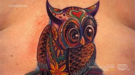 tattoo nightmares tommy the top of the owl done by on nightmares