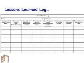 Project Management Lessons Learnt Template by Exle Lessons Learned Log Images