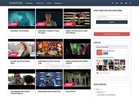 entertainment templates for blogger vubetube responsive blogger template free graphics