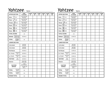 printable score sheets for card games yatzy game sheets printable to record the game loving