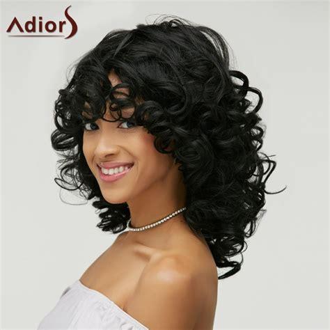 how to style medium bonding hairpiece shaggy black curly capless vogue medium women s heat