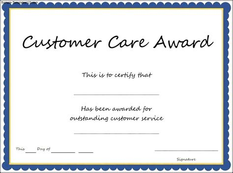 customer care award certificate template sle templates