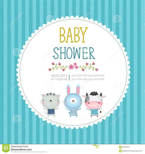 baby shower card template baby shower invitation card template blue background stock