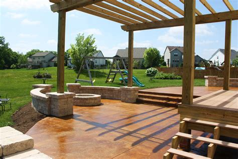 Patio Pergola by Concrete Patio Seating Acid Stained Concrete Patio