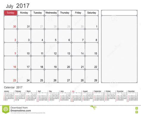 time design planner calendar planner july 2017 stock vector illustration of